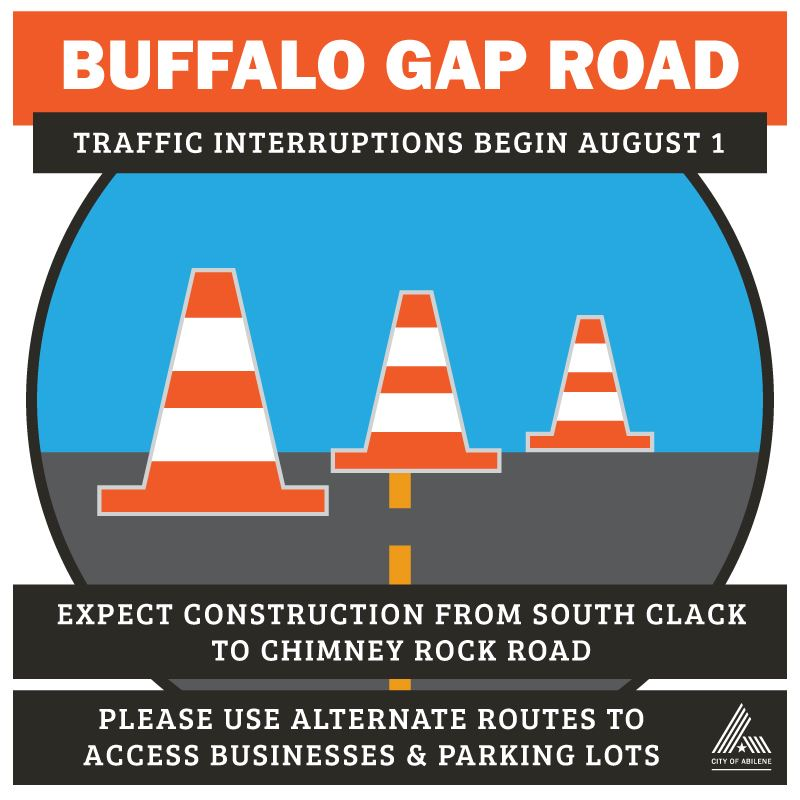Buffalo Gap traffic interruptions begin August 1 as water crews prepare for TXDOT widening of road