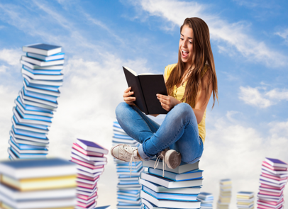 Teenage Girl Sitting on a Pile of Books