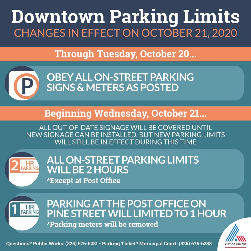 Downtown Parking limit changes effective October 21, 2020