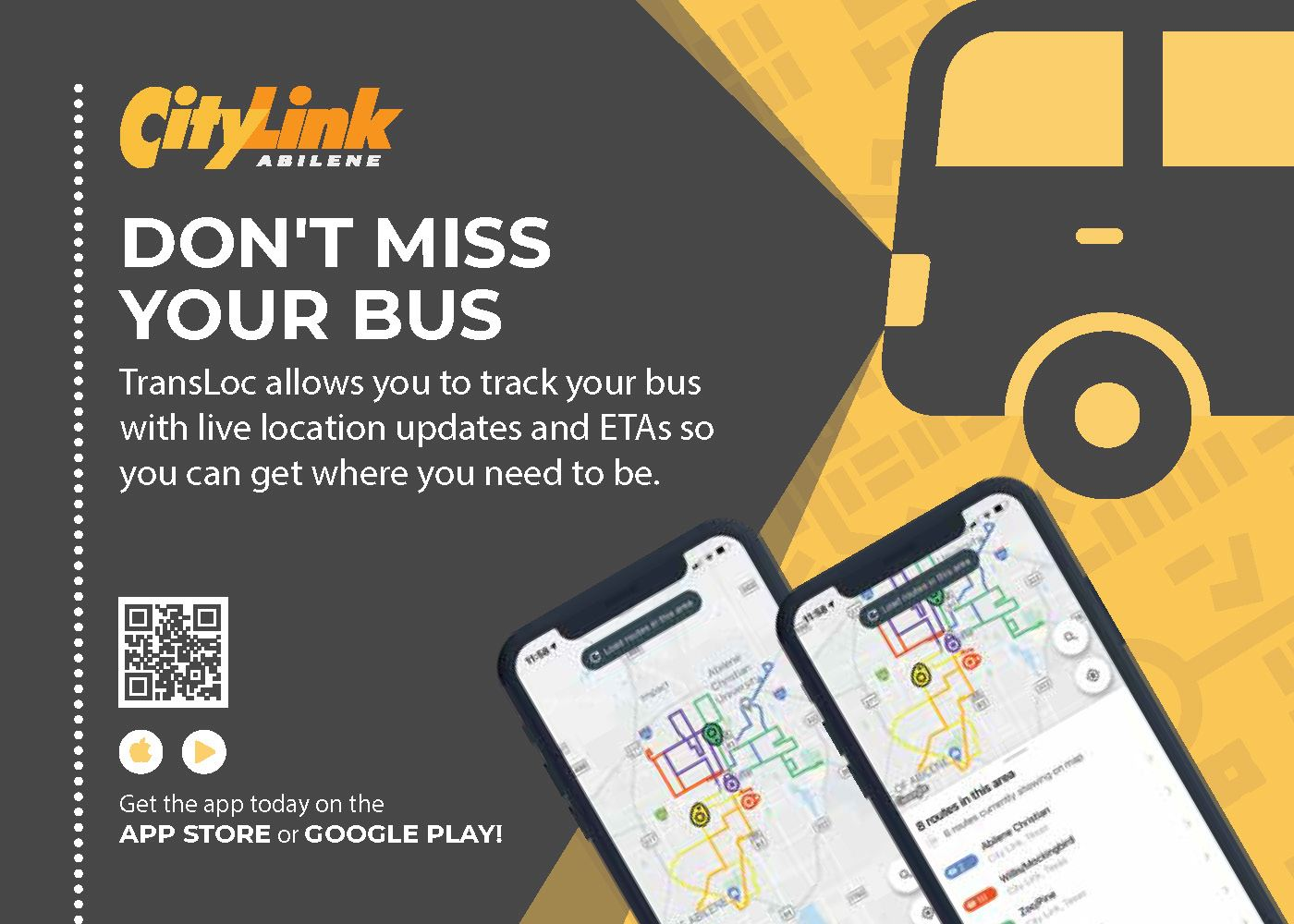CityLink TransLoc App - Download in the App Store or Google Play