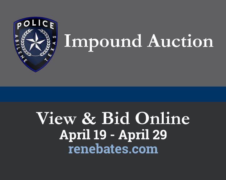 APD Impound Auction: April 19 to April 29 at renebates.com