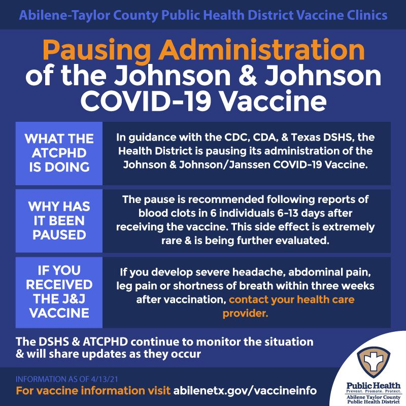 Health district is pausing adminstration of johnson and johnson vaccine