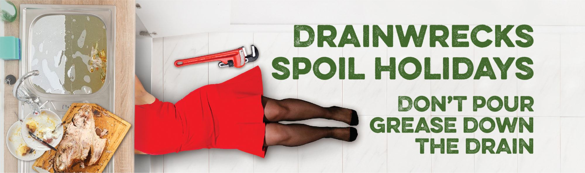 Drainwrecks spoil holidays, do not pour grease down the drain