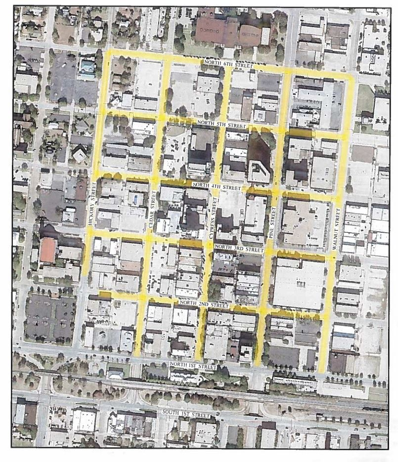 A map of Downtown Abilene streets set for reconstruction within the CBD project