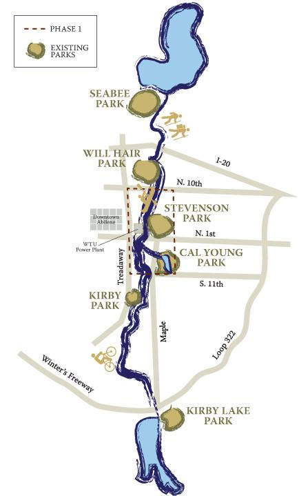 An artist's map showing a bird's eye view of the series of parks and trails running north to s