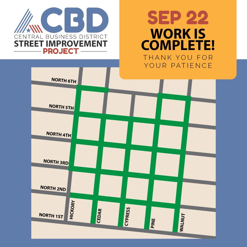 Map of downtown streets set for concrete repair and reconstruction through the CBD street improvemen