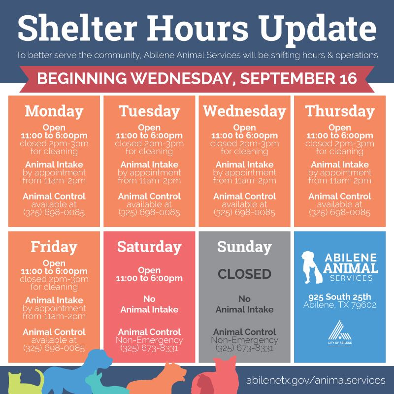 New hours of operation for Abilene Animal Shelter to include Saturday adoption services