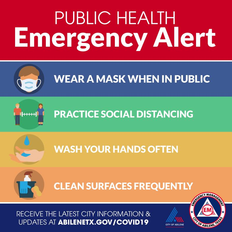 Public health emergency alert to wear face masks in public spaces
