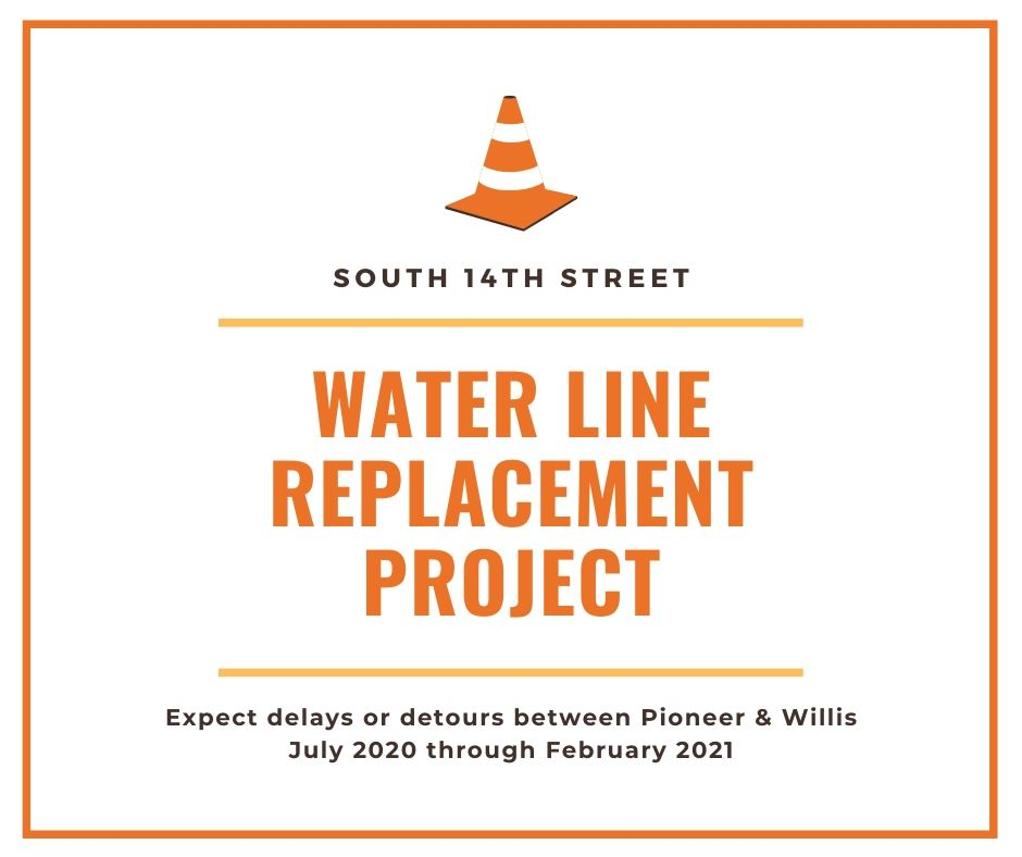 South 14th water line project begins between Pioneer and Willis