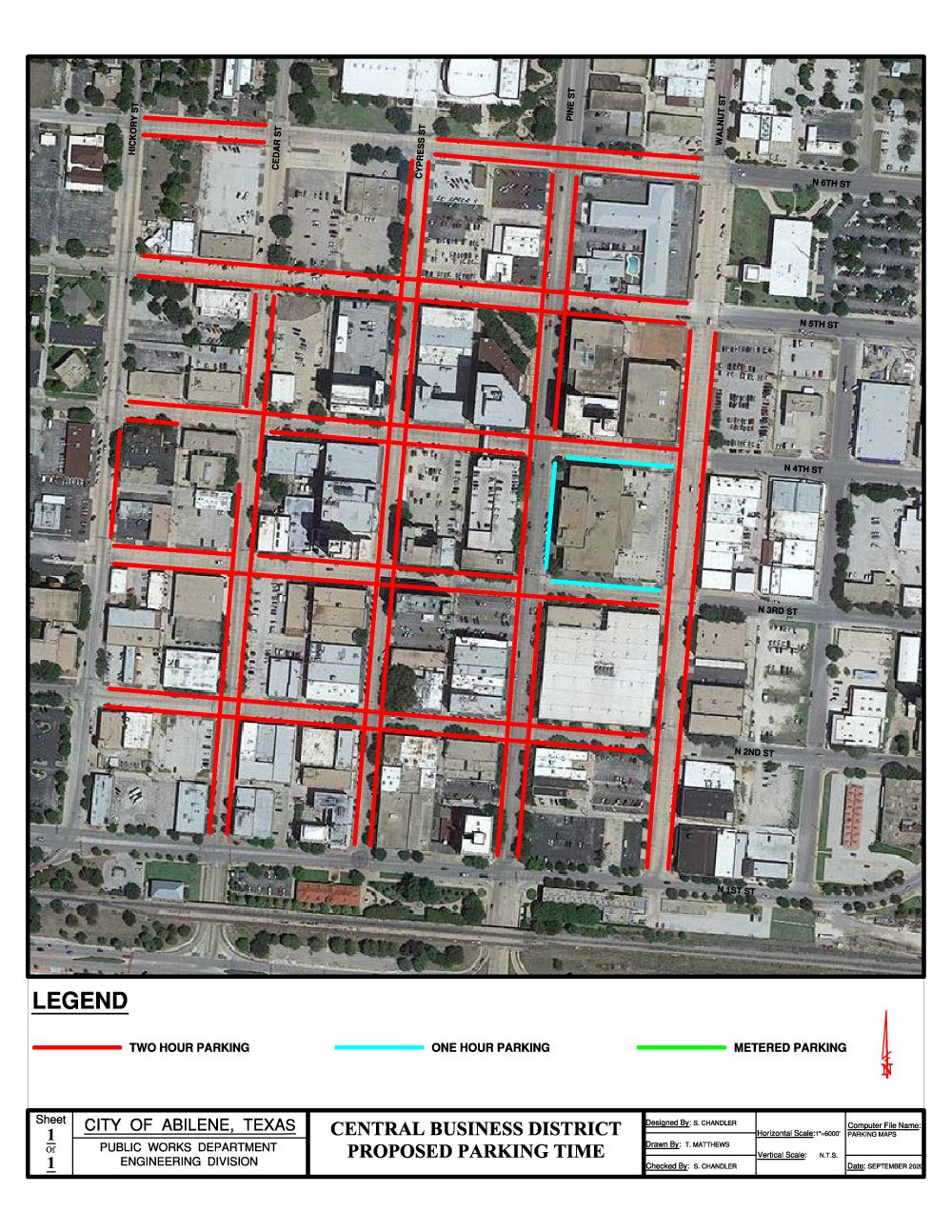 Overhead map of downtown area showing 2 and 1 hour parking areas