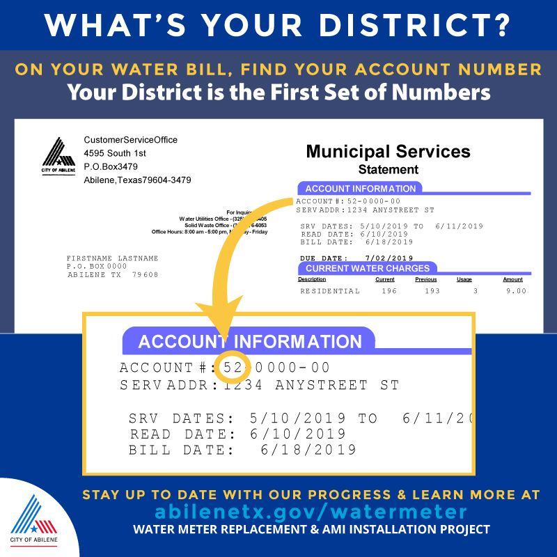 Diagram of Water Bill and How to Use it to Find Your District Number