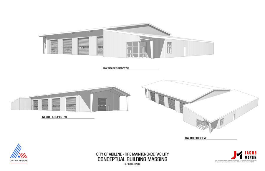 September 2016 Abilene Fire Fleet Facility Conceptual Building Massing