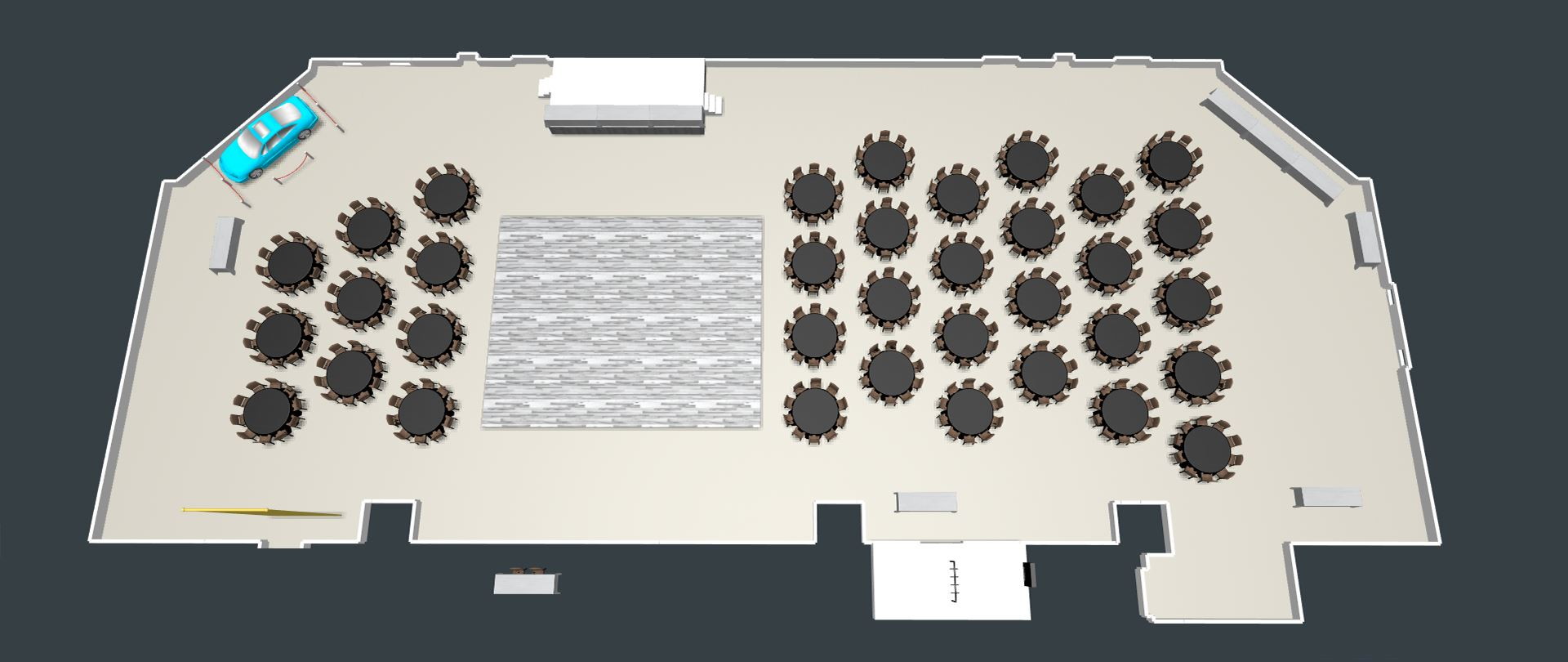 3D View of the Conference Center with Banquet Setup and Dance Floor