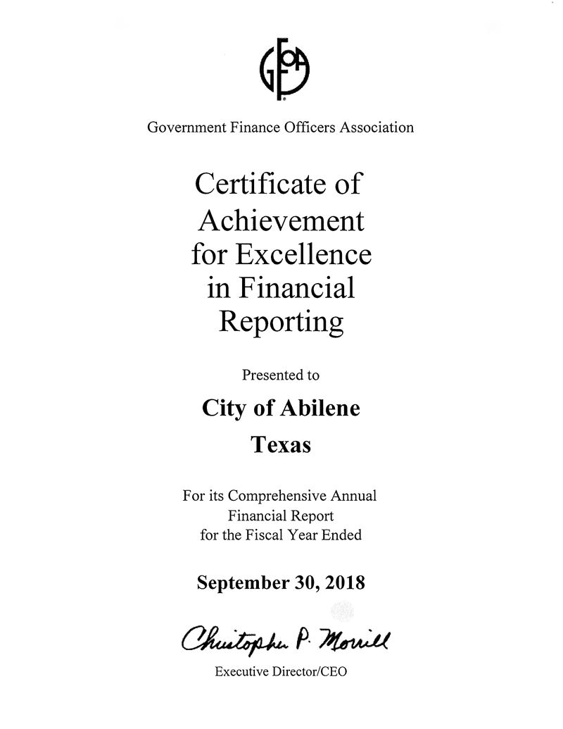 GFOA Audit Award 2018
