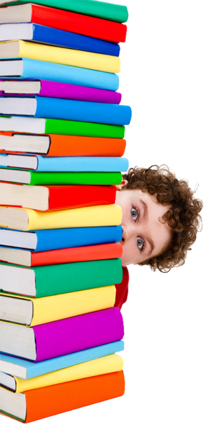 Stack of Books with Youth