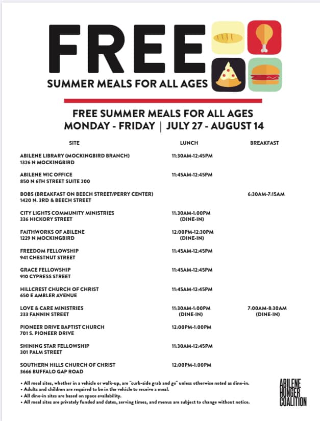 Listing of Free Lunch Locations